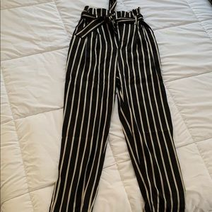 Black and Gold Striped Paperbag Pants